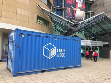 Lab in a Box sits outside of Te Papa's main entrance.